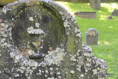 I love the lichen patterned on this gravestone.