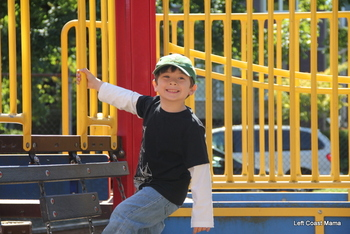 Aidan on the playground outside his classroom.