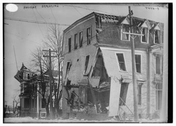 A house destroyed, though not flattened.