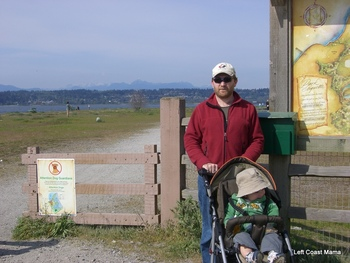 Caching with a stroller.