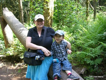 Gwen and Aidan on a log.