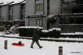 Grandad pulling Quinlan along. The sleds were a hit.