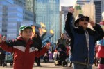 Aidan and Quinlan dancing at the Grey Cup