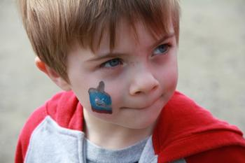 Quinlan with Thomas Face Paint