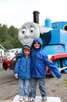 Quinlan and Aidan in front of Thomas